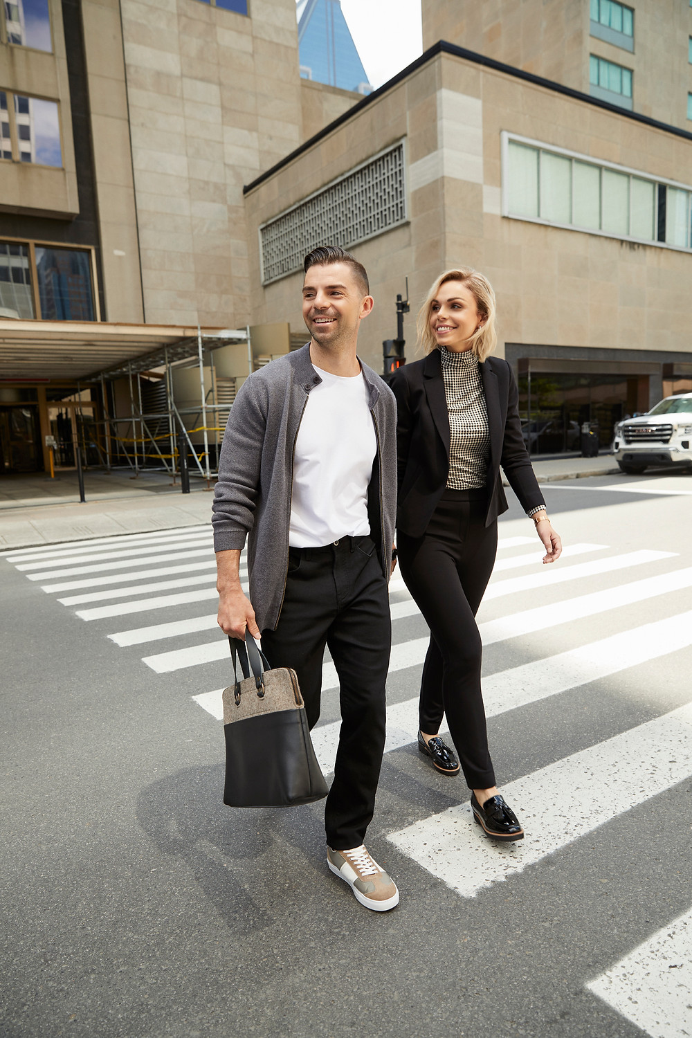 Rise up ambassadors Melissa and Sacha Leclair seen walking the streets of Montreal dressed in RW&CO latest fashion.