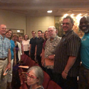 Choir members and friends at the San Diego hub of the Big Sing California