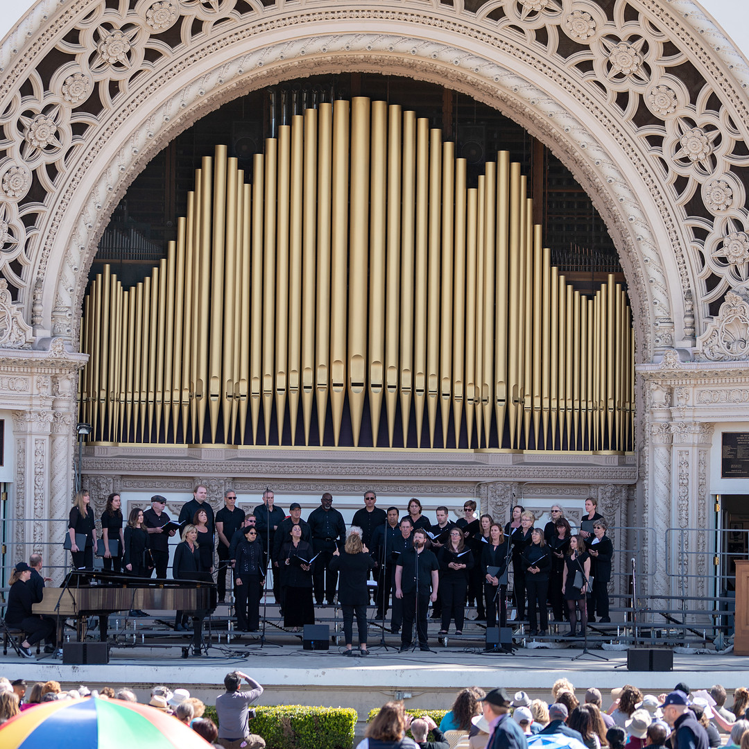 The Poway Community Choir performs at Spreckels Organ Pavilion