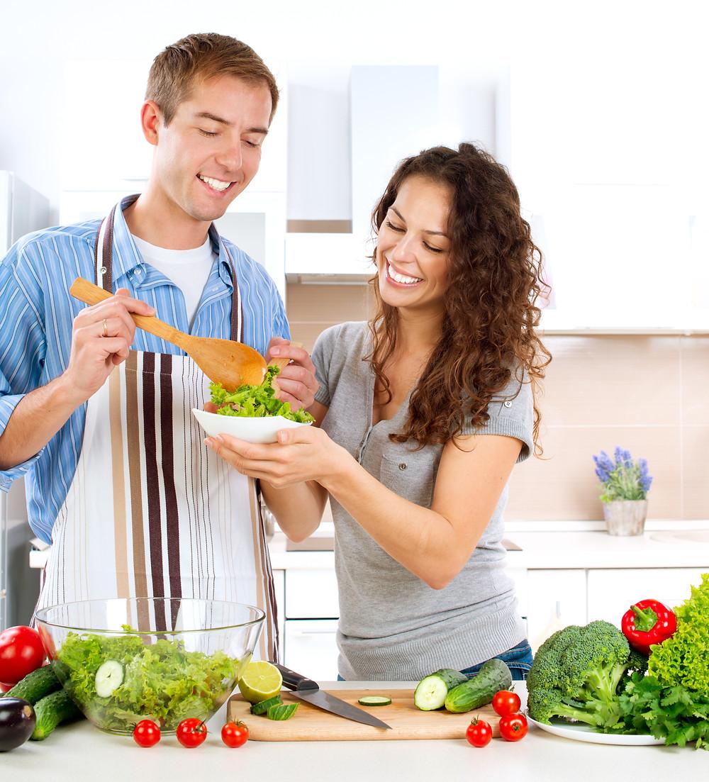 Healthy Couple Preparing Salad Chiropractic Prahran Windsor Melbourne Dr Nathan Jenner