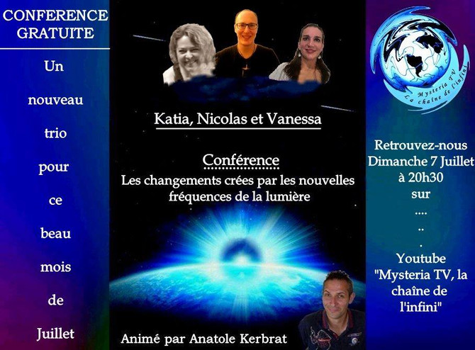 """CONFÉRENCE MYSTÉRIA TV : """"Les changements créés par les nouvelles fréquences de la Lumière.&quo"""