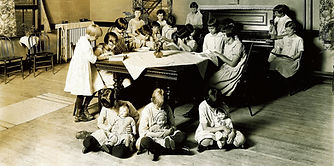 Girls inside the Bethany Protective Association, circa 1910.