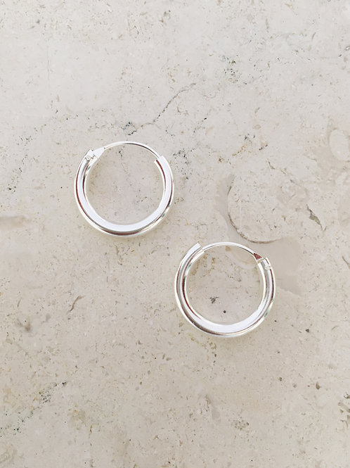 Silver Medi thick Hoop