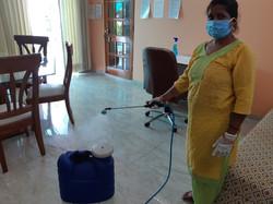 Spraying Sodium Hypochlorite