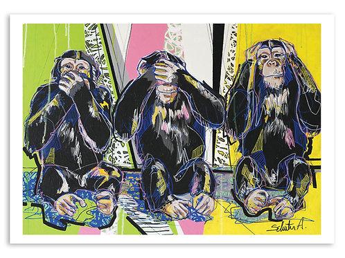 """Poster """"Les 3 Singes"""""""