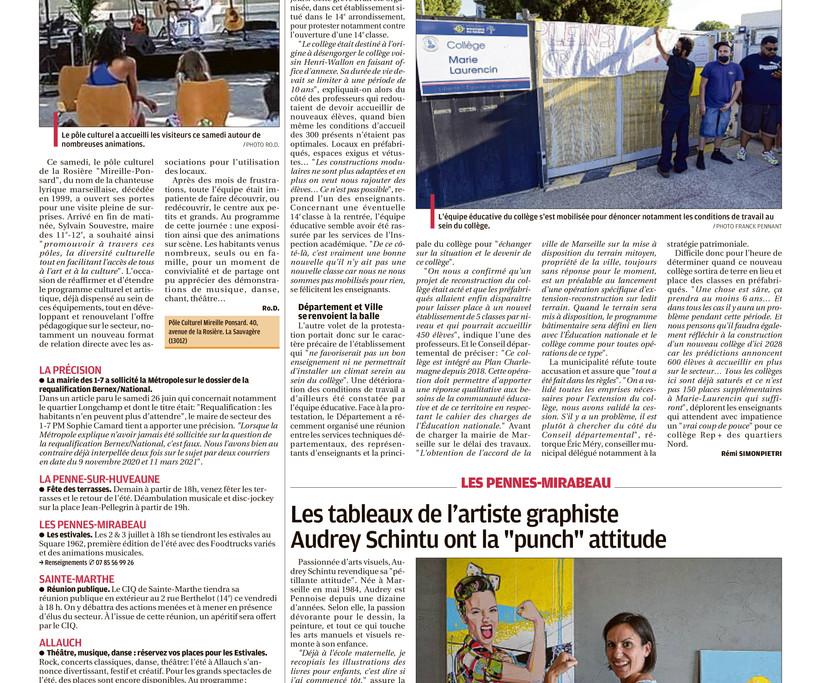 Page du journal La Provence Marseille