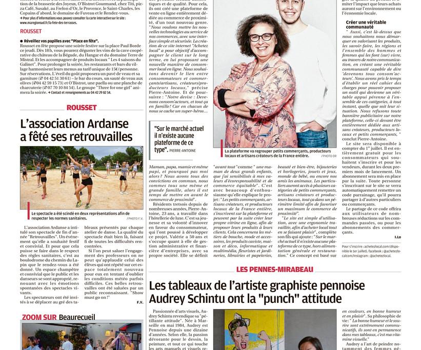Page du journal La Provence Aix