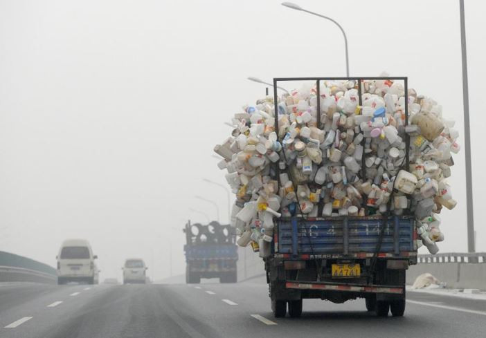 Truck carrying plastic waste
