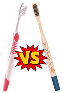 Dr. D'Amicos Bamboo Toothbrush versus a pastic toothbrush