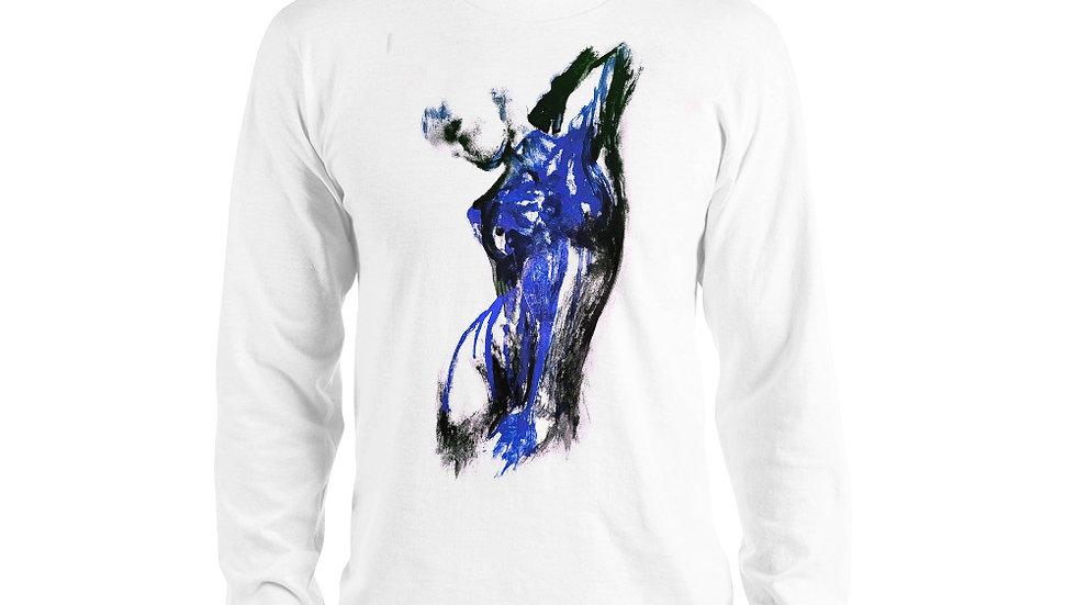 Stroke Piece #1 Art (white & blue) Long sleeve T