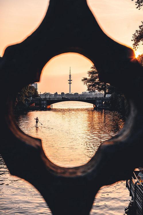 Hamburg - Fernsehturm im Abendlicht