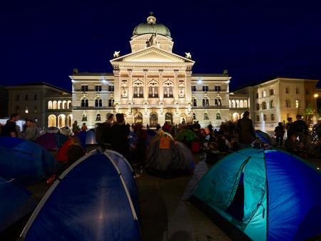 Zelt – Sammelaktion auf dem Bundesplatz
