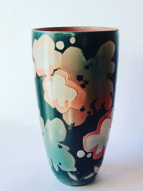 Vase grès décoré et émaillé 25 cm