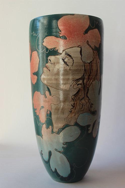 Vase grès décoré et émaillé 30 cm