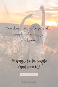 How to be happy and complete - even though you're single. 14 simple tips on how to embrace being on your own and how to master the art of being alone without being lonely.