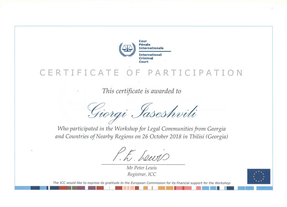 International Criminal Court - Certificate of participation