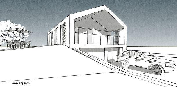 akj, architekt, jaraszkiewicz, dom jednorodzinny, jachranka, warszawa, koncepcja, indywidualy projekt
