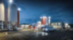 betonmix, architekt, jaraszkiewicz, zakład produkcji betonu, akj, projekt architektoniczny, projekt budowlany, wykonawczy, betonownia, noc, silos, budyek biurowy