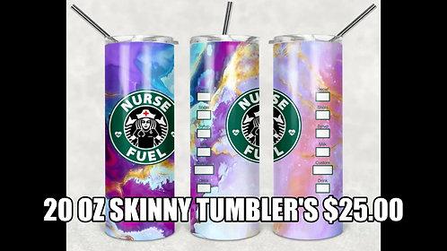 20 oz. Skinny Tumbler Nurse Fuel Star Bucks