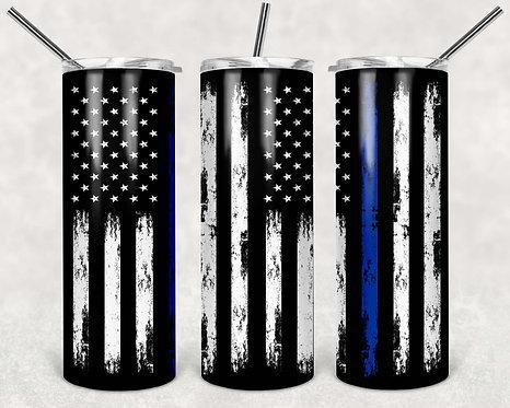 American Flag Blue Thin 20 oz. Skinny Tumbler ~ Blue Lives Matter