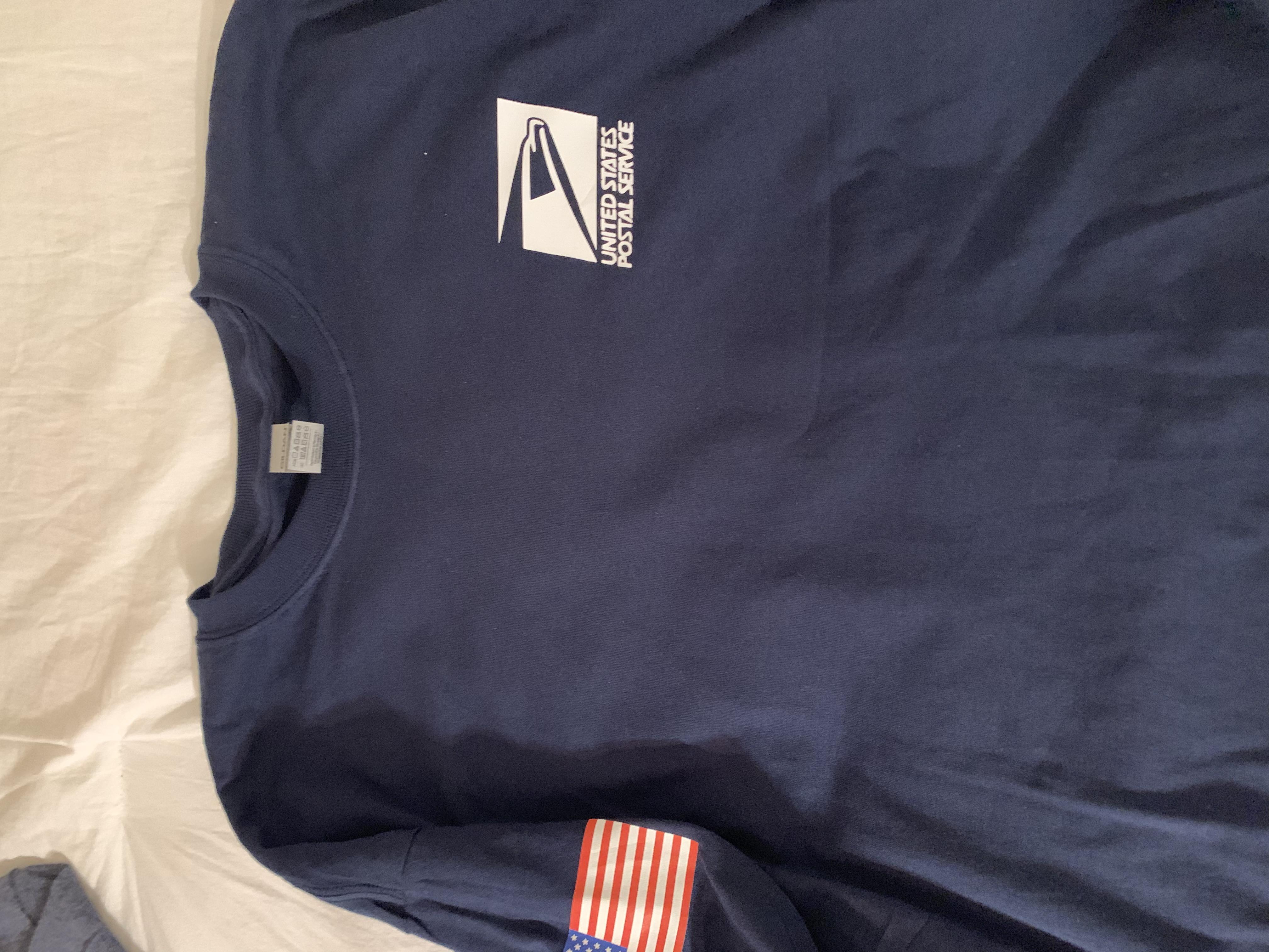 navy blue long sleeve post office shirt