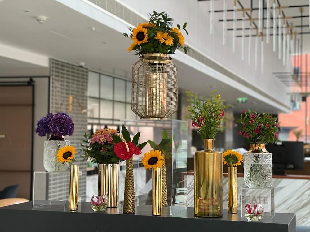 Sunflowers and bright flower display at Hyatt Regency hotel Manchester
