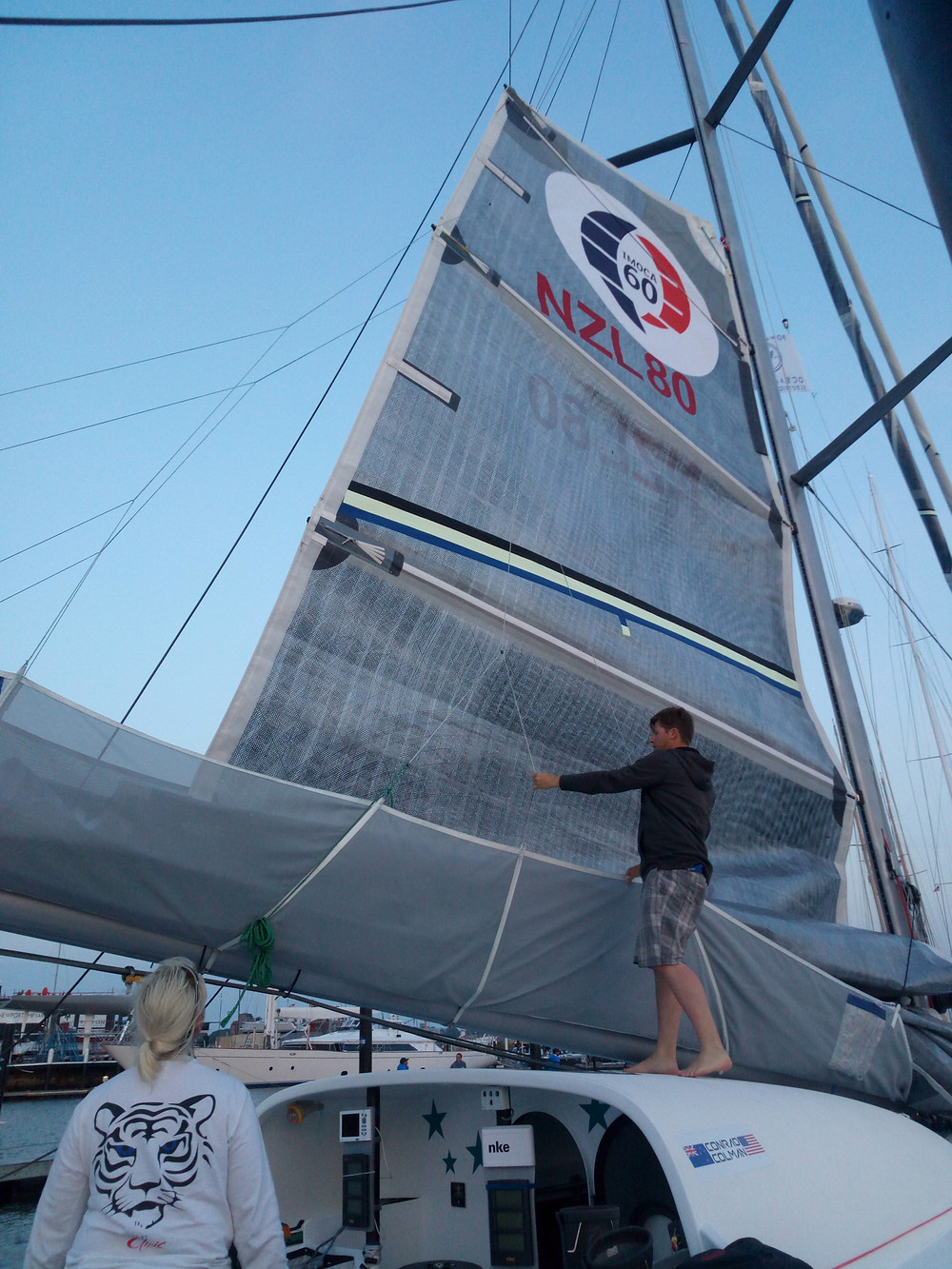 First hoist of the Powersail from UK sail © Conrad Colman Ocean Racing