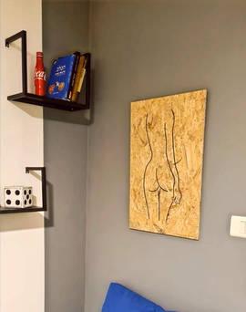 ציור בסגנון 'קו אחד' מדגם סקרלט בבית הלקוח