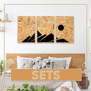 סט תמונות על עץ ממוחזר | סט תמונות בעבודת יד| סט תמונות לסלון | סט תמונות לחדר השינה