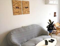 סט יונים בסלון דירה תל אביבית