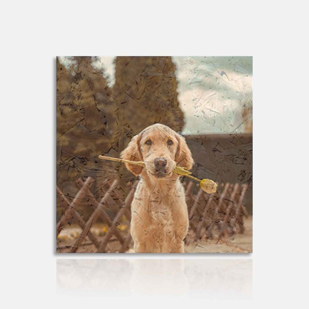 המחשה של תמונת כלב מודפסת על גבי עץ ממוחזר