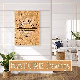 ציורים על עץ ממוחזר בסגנון טבעי | ציורים של טבע על עץ ממוחזר| ציורים בעבודת ידע