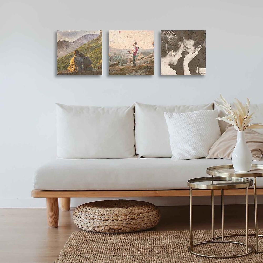 שלוש תמונות מודפסות על גבי עץ ממוחזר ונדבקות לקיר בקלות
