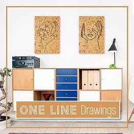 ציורים בסגנון קו אחד על עץ ממוחזר | ציורים בעבודת יד | ציורי קו אחד | תמונות לתלייה בחדר השינה
