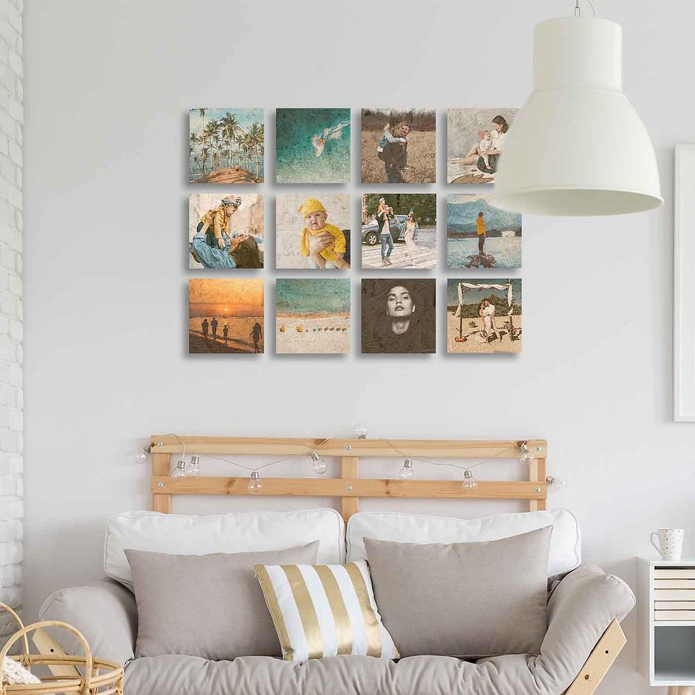 שתיים עשרה (12) תמונות מודפסות על גבי עץ ממוחזר ונדבקות לקיר בקלות