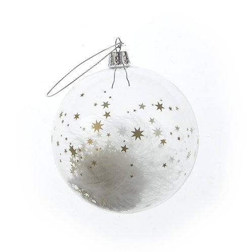 Glass Bauble with feathers & stars