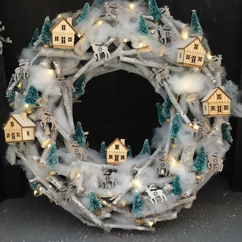 Ski Lodge Christmas Wreath