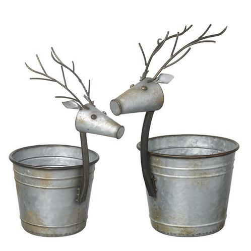 Silver Metal Reindeer Planter