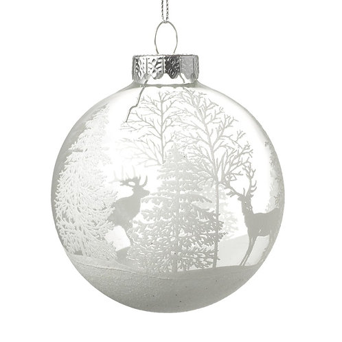 White Winter Stag Bauble