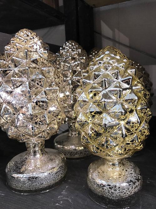 Silver Glass Pinecone