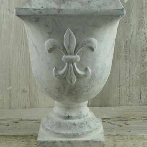 Whitewashed Stone Urn with Fleur De Lis