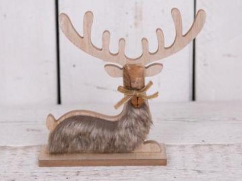 Faux Fur Sitting Reindeer