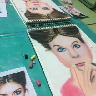retrato pastel- curso infantil