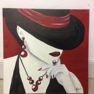 Mujer con sombrero al oleo- Fina