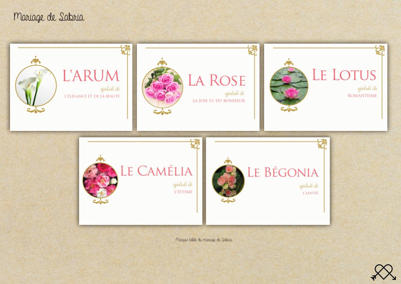 """Marques table """"noms de fleurs"""""""