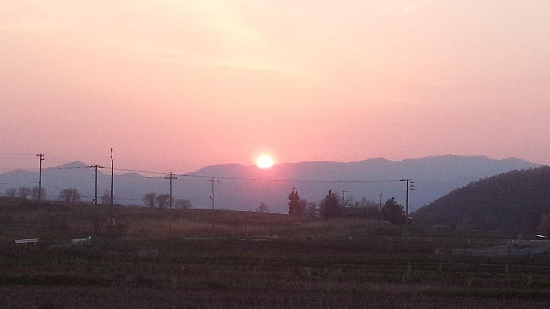 ロッヂ付近からの夕陽