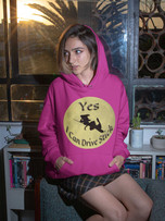 Yes I Drive Stick Funny Witch Hoodie