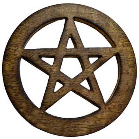 """Stained Natural Wood 4"""" Pentagram Altar Tile"""