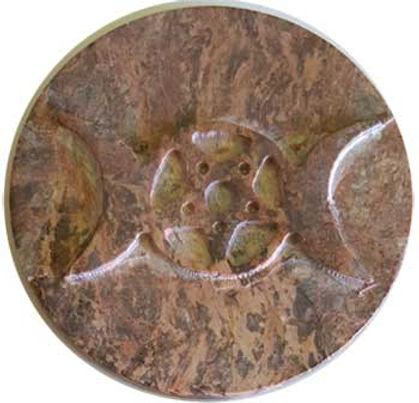 """Natural Soapstone Triple Moon Goddess 3"""" Altar Tile"""