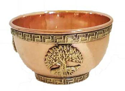 Ornate Copper 3 Inch Tree of Life Ritual Altar Offering Bowl